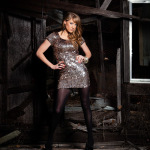 Jody Steliga Savvy Spice in sequin New Years Eve dress black tights 150x150