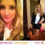 Silicon Valley Date Night Leather shorts black blazer black clutch heels 150x150