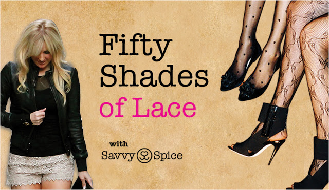 Fifty Shades of Lace, Savvy Spice how to add romantic style post, lace shorts, black heels, printed tights