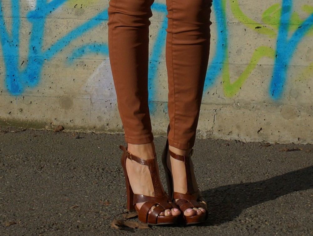 leather heels and skinny leather pants