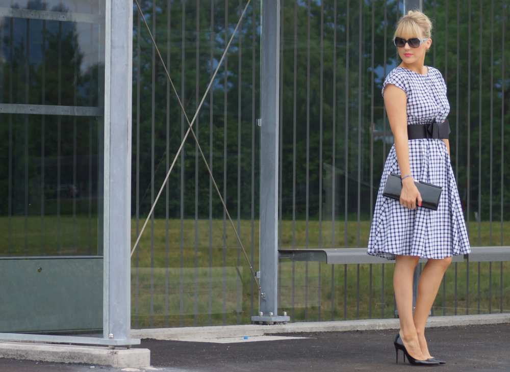 Gingham black white zara dress Savvy Spice dale janee