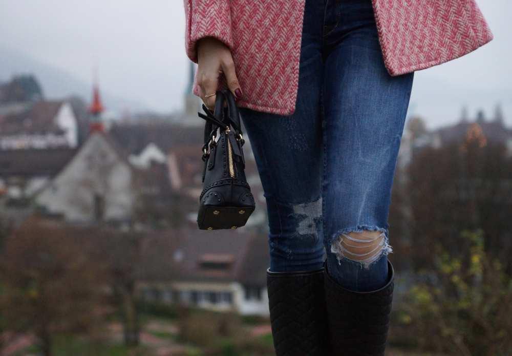 Zara jeans Savvy Spice Coach Jacket black rainboots