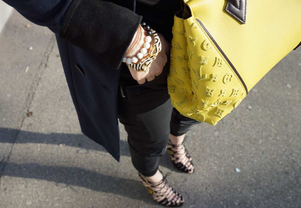 Neon yellow handbag LV bag
