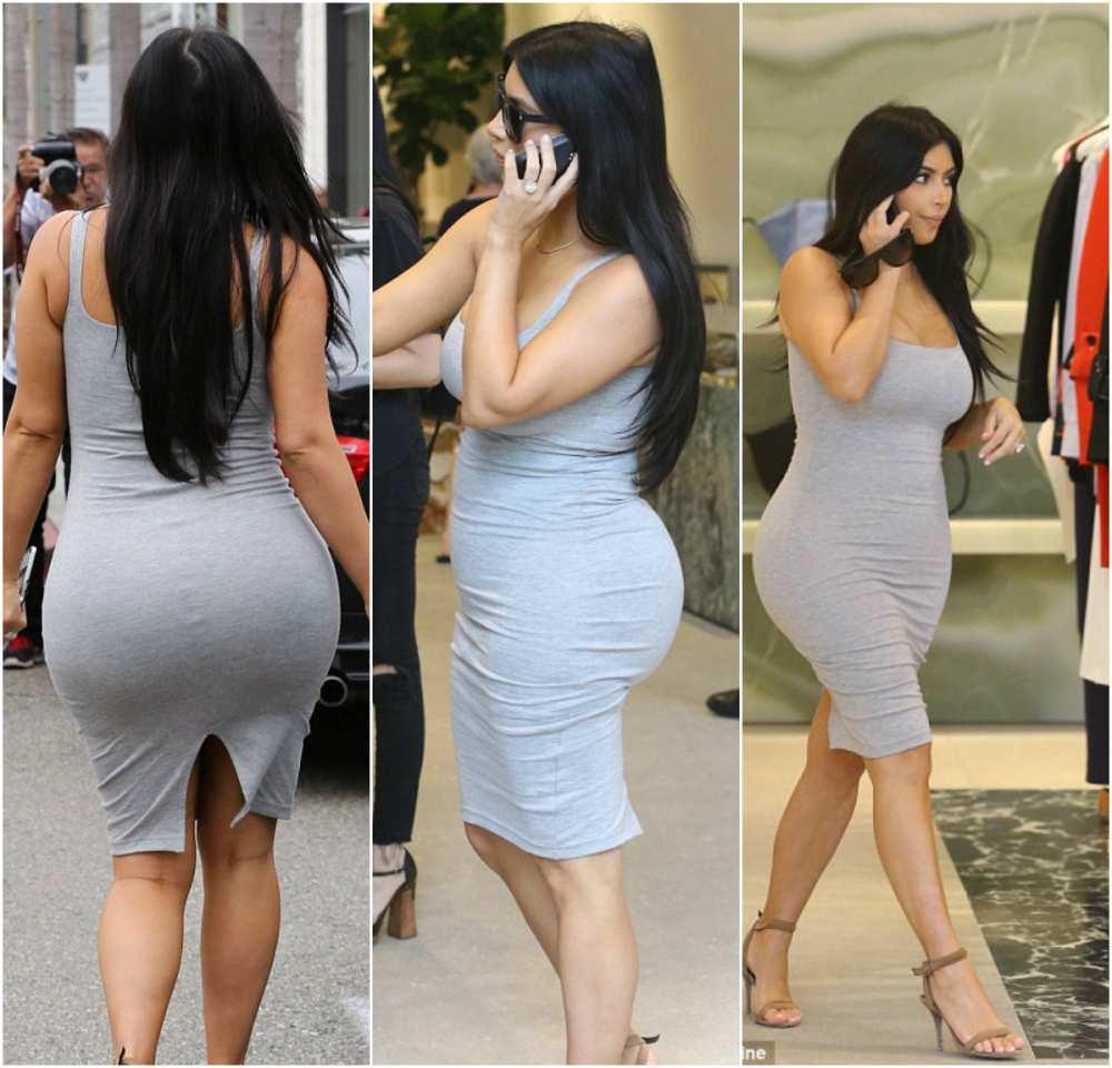 Pregnancy Style Kim Kardashian grey dress