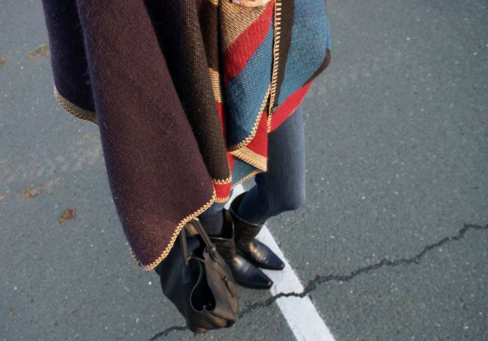 Burberry Poncho knockoff skinny jeans