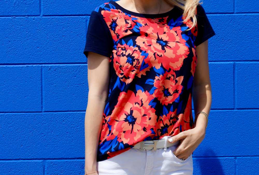 navy-orange-floral-print-top