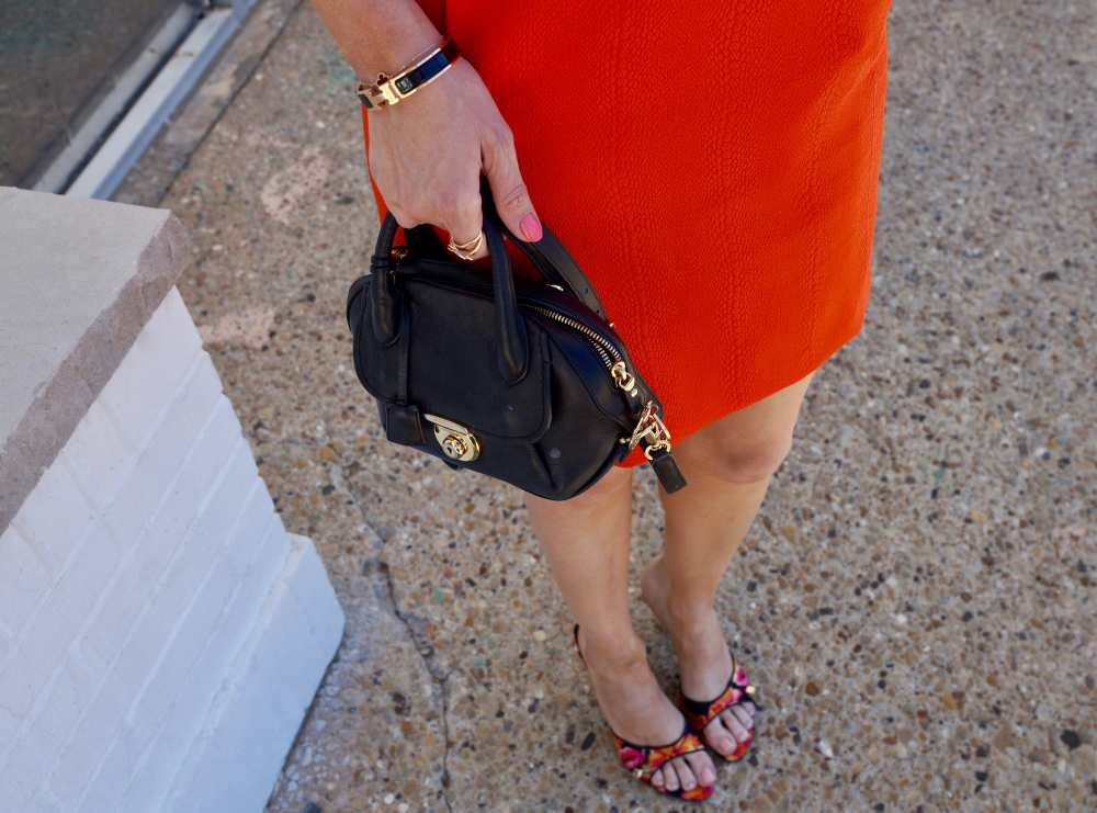 orange-Tommy-Hilfiger-dress-Dior-kitten-heels