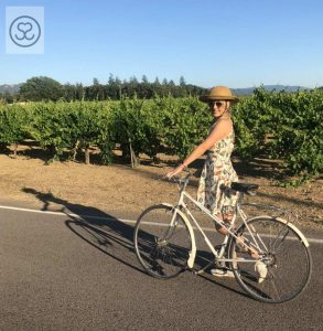 Wine Country Cycling in Versace! Don't Forget Your Bike Pretty Helmet